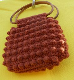 70's does wartime retro. AL. Vintage Handmade Crocheted Purse Bamboo by kissmyattvintage, $16.00