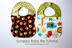 Scrappy Bib tutorial how to make super cute baby bibs using scraps from quilts and receiving blankets