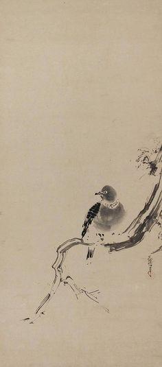 Bird on Willow Tree. Japanese hanging scroll painting, kakejiku