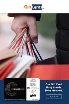 Looking for more choices in how recipients use their gift cards, then check out The Choice Gift Card. It's usable at higher-end outlets like Nordstrom Rack, Ulta, REI, McCormick & Schmicks and Spafinder. The recipient redeems the card online for an egift that can be spent in stores or online. This is a great gift card with more choices, no fees and no expiration. Diy Holiday Gifts, Christmas Gifts, Choices, Great Gifts, Cards, Xmas Gifts, Christmas Presents, Xmas Presents, Amazing Gifts