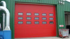 Sectional roller shutter doors.