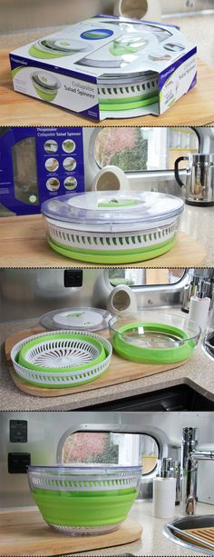 Organizing A Trailer While Keeping Me Company » Just 5 More Minutes.  Collapsable salad spinner!