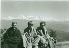 "Gary Snyder, Peter Orlovsky, Allen Ginsberg. ""Hills leading to Himalayan Peaks, in Almora, we were on Pilgrimage to Buddhist sites, here visiting Lama Govinda, March 1962."" Photo snapped by Joanne Kyger"