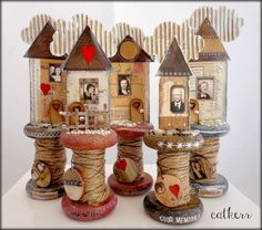 This is Life House spool measures approx. 7 and was created by using wooden spools,Artchix Images,wood,twine,beads,wire,cardboard,resin,rub-ons