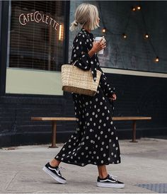 Polkadot Midi Dress Worn With Trainers And A Woven Basket Bag