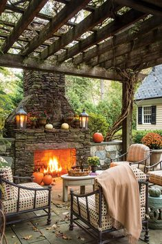 Our October issue brings autumn to life, with a bevy of pumpkins, gourds, and fall floral adding beauty to classic interiors and a delectable harvest menu drawing loved ones outdoors for a festive repast shared under the stars. Outdoor Fireplace Designs, Backyard Fireplace, Fireplace Ideas, Outdoor Fireplaces, Outdoor Rooms, Outdoor Living, Outdoor Decor, Outdoor Gardens, Outdoor Furniture