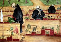 Hugo Simberg - Kuoleman Puutarha / The Garden of Death Dream Symbols, Halloween Scarecrow, Skeleton Art, Danse Macabre, Spooky Scary, Garden Painting, 3 Arts, Mexican Art, Visionary Art