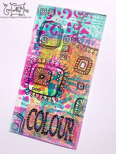 Cardboard decorated with gelli plate, dylusion paint, paperartsy stamps | A Lazy Scrapper