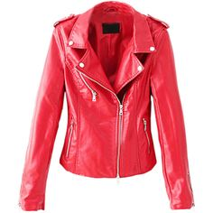 Choies Red Lapel Leather Look Slim Biker Jacket With Zipper Detail found on Polyvore featuring polyvore, fashion, clothing, outerwear, jackets, red, vegan leather moto jacket, faux leather jacket, moto jacket and faux leather motorcycle jacket