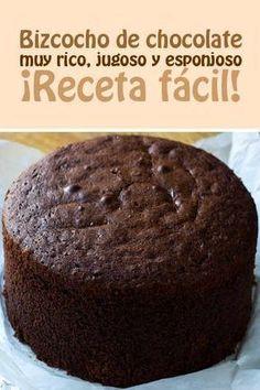 Bizcocho de chocolate muy rico, jugoso y esponjoso. Sweet Recipes, Cake Recipes, Dessert Recipes, Food Cakes, Cupcake Cakes, Pan Dulce, Savoury Cake, Chocolate Desserts, Cake Chocolate