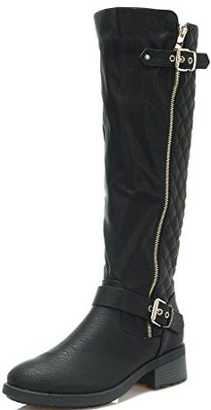 fd9368ad66d8 Dream Pairs Womens UTAH Black Low Stacked Heel Knee High Riding Boots Size  8 M US