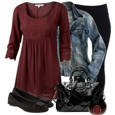 Day dress with leggings, a denim jacket and flats, cute!