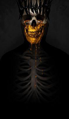 Ancient Gold by SaxonSurokov Dark Fantasy, Fantasy Art, Skull Reference, Gold Aesthetic, Skull And Bones, Horror Art, Skull Art, Dark Art, Sculpture Art
