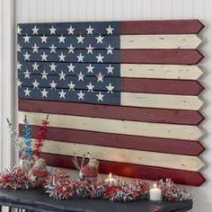 American Flag Wall Art-inexpensive picket flag...I'm totally makin' this.