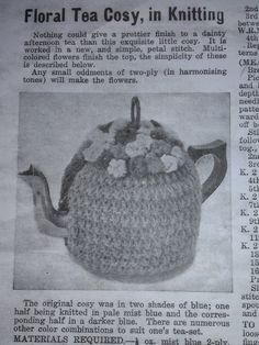 Craft a cure for cancer free tea cosy patterns: Vintage tea cosy patterns Knitted Dishcloth Patterns Free, Tea Cosy Knitting Pattern, Tea Cosy Pattern, Baby Knitting Patterns, Knitting Ideas, Free Pattern, Sewing Patterns, Tea Warmer, Knitted Tea Cosies