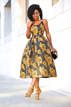 NYE: Golden Rose Midi Dress