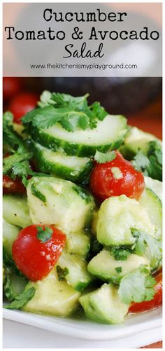 Cucumber, Tomato, and Avocado Salad ~ fresh & simple, dressed with a light, flavorful citrus and honey vinaigrette.   www.thekitchenismyplayground.com