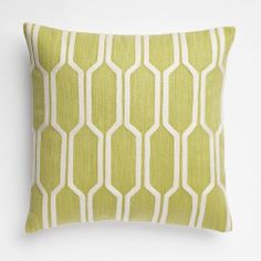Honeycomb Crewel Pillow Cover - Leek   west elm