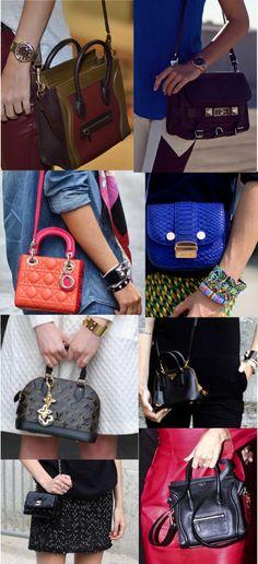 O novo hit das fashionistas são as mini it bags. Versões reduzidas de modelos clássicos de bolsas. A grife Louis Vuitton fez até uma campanha recentemente com suas mini it bags, assistam no link: http://www.youtube.com/watch?v=Nx8FeA7EkUg