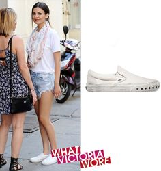 June 17th, 2015 | Spotted in New York   Vans Overwashed Slip On Sneakers in Blanc de Blanc - $60