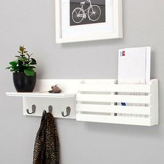 "24"" Wall Shelf Mail Holder with 3 Metal Hooks White Letter Key Hanging Organizer • CAD 48.90"