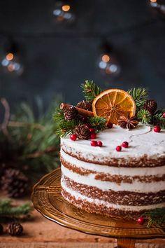 Christmas Cake Designs, Christmas Cake Decorations, Christmas Cake Pops, Christmas Sweets, Holiday Cakes, Christmas Desserts, Christmas Baking, Red Christmas, Chrismas Cake