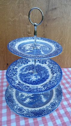 Gorgeous 3 Tier Vintage Cake Stand Blue & by englishvintagetable, $40.00