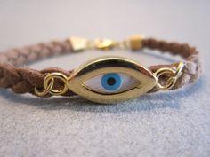 Evil Eye Bracelet Gold Plated Suede Cord