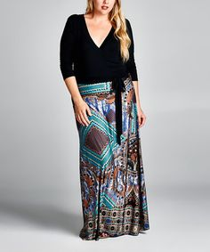 Loving this Navy Geometric Surplice Maxi Dress - Plus on #zulily! #zulilyfinds