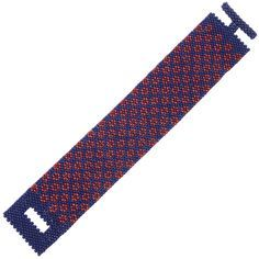This feminine bracelet features bright red bead-woven poppies and a cool, denim-blue beaded backdrop for a fun, casual look.