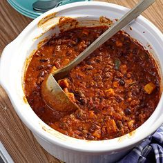 Black Bean, Chorizo & Sweet Potato Chili Recipe -Chili is one of my all-time favorite dishes. This recipe takes chili to the next level by changing up the flavors and adding a surprise--sweet potatoes. —Julie Merriman, Cold Brook, New York
