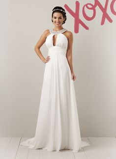 This is the Grecian goddess collar dress by Sweetheart #5952 Great choice for a second time bride who wants a dress with a sweep train.