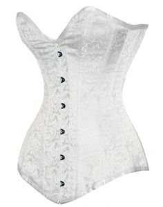 0cfb0c72be EB-9051- 5004 White Brocade 100 Long Line Authentic Steel Boned Overbust  Corset Pvc