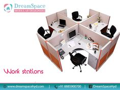 Open-plan office with great colour.