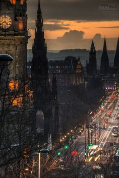 Edinburgh, Sunset down Princes Street from Calton Hill. Real Edinburgh.