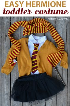 Costumes Harry Potter Easy hermione gryffindor Harry Potter girl toddler costume - Easy DIY Little witch hermione Harry Potter Hogwarts Gryffindor baby girl toddler Halloween costume Baby Harry Potter, Toddler Harry Potter Costume, Harry Potter Dress, Toddler Girl Costumes, Baby Girl Halloween, Halloween Costumes For Girls, Spooky Halloween, Hermione Halloween Costume, Witch Costumes
