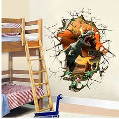 MLM Removable Jurassic Park Dinosaur 3D Hole View Broken wall Waterproof Wall Stickers Kids Room Decor Nursery Home Decal Sticker >>> Be sure to check out this awesome product. (This is an affiliate link and I receive a commission for the sales)