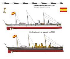 Perfiles navales.Contratorpedero DESTRUCTO 1887