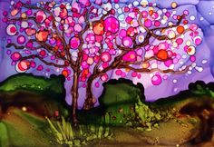 Magnolia Tree- alcohol ink ACEO (2.5 x 3.5 inches) on Yupo paper.   All artwork for sale