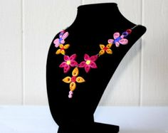 Unique Flower Design Quilling Necklace,Handmade Jewelry,Quilling Art,Summer Jewelry