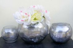 Extra Large Round Vase 7 inch  Metallic Silver Faux by AldanaArt, $35.00