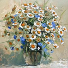 Maria Pavlova.  Bouquet of  daisies and cornflowers