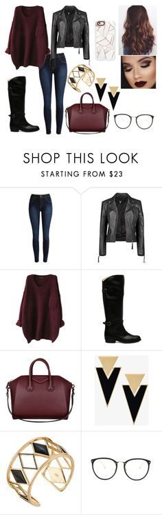"""Untitled #224"" by kora-muffin on Polyvore featuring Boohoo, Frye, Givenchy, Yves Saint Laurent, Rebecca Minkoff, Linda Farrow, Casetify, Fall, red and Boots"