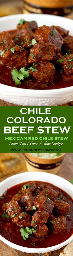 This rich and hearty Chile Colorado Beef Stew is lip-smacking good! Beef chunks are simmered in a Mexican style red chile sauce until fall-apart tender. A meal in itself and perfect for tacos or burritos! Stove Top, Oven and Slow Cooker Instructions Provided.