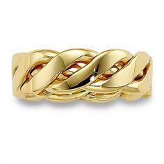 Mens 14K Gold 6.5mm Handwoven Wedding Band - Free Shipping - $593