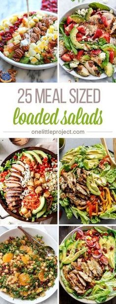 These meal sized loaded salads look AMAZING! I'm always worried that I won't be full after eating a salad for dinner, but these salads have everything! Salada Light, Healthy Snacks, Healthy Eating, Paleo Dinner, Healthy Salads For Dinner, Diet Snacks, Dinner Salads, Meal Salads, Big Salads