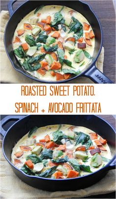 Roasted Sweet Potato Spinach Avocado Frittata. Simple and healthy. Breakfast is served in minutes!