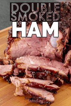 One of my favorite things to make for the holidays, double smoked ham. Cooked on a Traeger, or smoker, this is the perfect recipe for you next holiday get together. This double smoked ham recipe is one of my favorite holiday entrees. Traeger Recipes, Smoked Meat Recipes, Ham Recipes, Grilling Recipes, Entree Recipes, Oven Recipes, Dinner Recipes, Smoked Ham Glaze, Bon Appetit