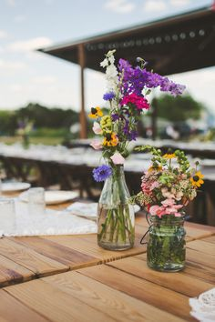 #rustic, #centerpiece  Photography: The Life You Love Photography - www.thelifeyoulovephotography.com  Read More: http://www.stylemepretty.com/2013/09/24/wimberley-texas-wedding-from-the-life-you-love-photography/