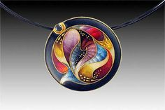 Sheila Beatty 24k gold on fine silver cloisonné. Setting:18k and 22k gold. With black diamond